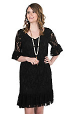 Cowgirl Hardware Women's Black Lace with 1/2 Bell Sleeves Dress