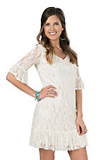 Cowgirl Hardware Women's Cream Lace with 1/2 Bell Sleeves Dress