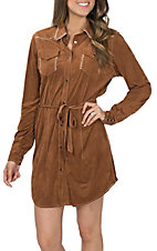 Cowgirl Hardware Women's Faux Suede Western Shirt Dress
