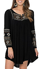 Cowgirl Hardware Women's Black w/ Embroidery Peasant Dress
