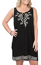 Cowgirl Hardware Women's Black Southwest Embroidery Sleeveless Dress