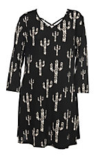 Cowgirl Hardware Women's Swirl Cactus 3/4 Sleeve Black Pocket Dress - Plus Size