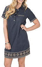Cowgirl Hardware Women's Denim Southwest S/S Snap Dress