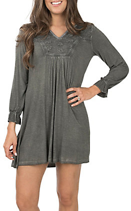 Cowgirl Hardware Charcoal Women's Lace V-Neck Long Sleeve Dress