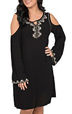 Cowgirl Hardware Women's Black with Embroidery Cold Shoulder Dress