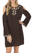 Cowgirl Hardware Women's Cold Shoulder Brown Embroidered Dress