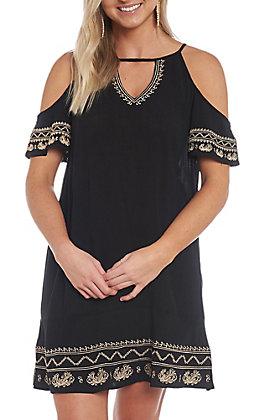 Cowgirl Hardware Women's Black Embroidered Cold Shoulder Dress