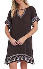 Cowgirl Hardware Women's Brown Embroidered Dress