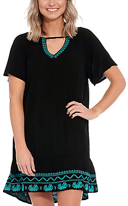 Cowgirl Hardware Women's Black Turquoise Embroidered Dress