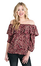 Renee C. Women's Burgundy and Taupe Bandana Print 3/4 Sleeve Fashion Top