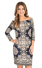 Renee C. Women's Navy and Taupe Ornate Print 3/4 Sleeve Dress