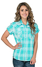 Panhandle Women's Turquoise & White Lurex Plaid Short Sleeve Western Shirt