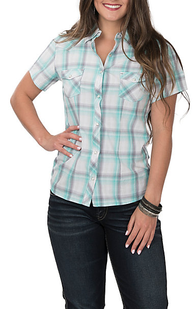 d8be63526 Panhandle Women's Turquoise, Grey and White Plaid Short Sleeve Western Shirt