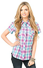 Panhandle Women's Blue and Purple Plaid Short Sleeve Western Shirt