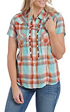 Rough Stock by Panhandle Women's Plaid Embroidered Sleeves Western Snap Shirt