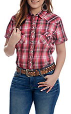 Panhandle Women's Pink Plaid with Aztec Embroidery Short Sleeve Pearl Snap Western Shirt