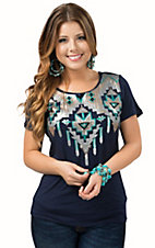 Anne French Women's Navy with Aztec Sequin Design Tee
