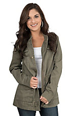 Per Se Women's Olive with Multiple Pockets Long Sleeve Military Jacket