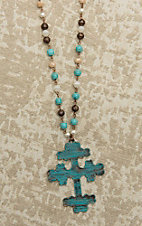 Southern Junkie Copper, Pearl, and Turquoise with Large Cross Pendant Necklace