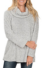 Ethyl Women's Grey Fuzzy Cowl Neck Fleece Shirt