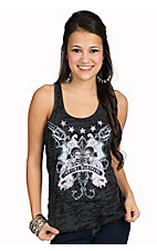 Cowgirl Hardware Women's Black Burnout Fleur and Guns Top