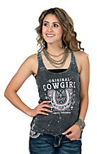 Cowgirl Hardware Women's Charcoal Original Cowgirl with Horseshoe Burnout Racer Back Tank