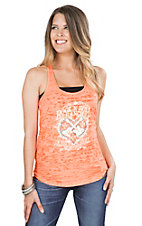 Rock & Roll Cowgirl Women's Orange with Cream Screen Print Design and Turquoise Rhinestones Sleeveless Casual Knit Top