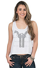 Cowgirl Hardware White with Rhinestud Pistols & Barbwire Lace Back Sleeveless Casual Knit Top