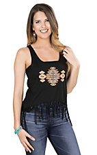 Cowgirl Hardware Women's Black with Coral and Teal Stud Aztec Design Sleeveless Fashion Top