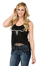Cowgirl Hardware Women's Black with Silver Longhorn Design Sleeveless Fashion Top