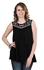 Cowgirl Hardware Women's Black with Aztec Embroidered Yoke Sleeveless Fashion Top