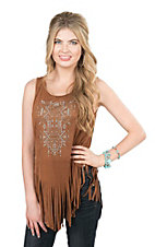 Cowgirl Hardware Women's Mocha Faux Suede with Aztec Studded Detail Sleeveless Fashion Top