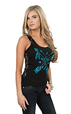 Cowgirl Hardware Women's Crossed Arrows Black Tank