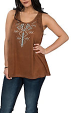 Cowgirl Hardware Mocha Faux Suede Dye Cut Tank Fashion Shirt