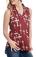 Cowgirl Hardware Women's Maroon and White Fashion Cross Fashion Tank