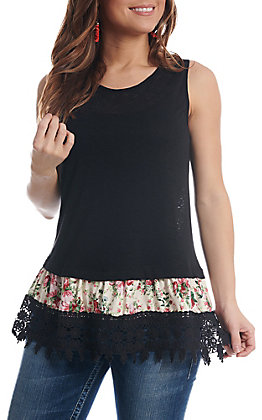 Cowgirl Hardware Women's Black With Floral Lace Trim Tank