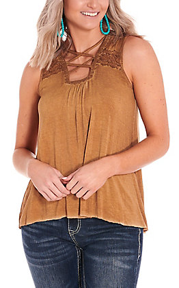 Cowgirl Hardware Women's Washed Brown Criss Cross Tank Top