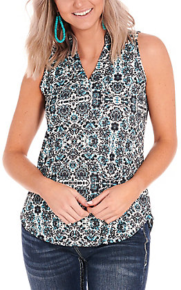 Cowgirl Hardware Women's Cream with Turquoise and Black Vintage Floral Print Sleeveless Fashion Top