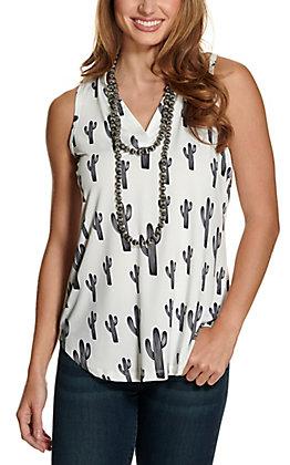 Cowgirl Hardware Women's White with Black Cactus Print Sleeveless Fashion Tank Top