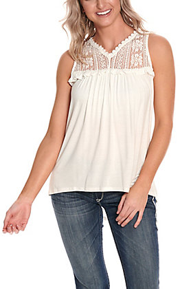 Cowgirl Hardware Women's White with Lace Sleeveless Knit Fashion Tank Top