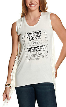 Cowgirl Hardware Women's White Country Boys & Whiskey Fringe Tank Top