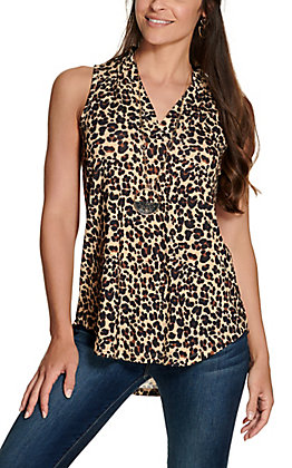 Cowgirl Hardware Women's Leopard Print Fashion Tank Top