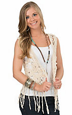 Anne French Women's Natural Macrame with Fringe Vest