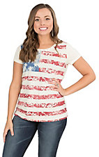 Anne French Cream with American Flag and Rhinestone Accents Cap Sleeve Casual Knit Top