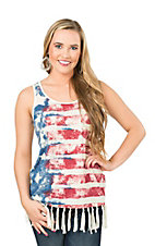 Anne French Cream with American Flag and bottom Fringe Sleeveless Shirt