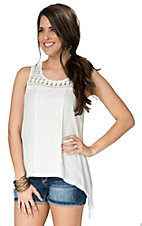Anne French Women's White Lace with Snake Hem Tank