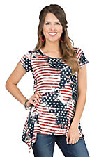 Anne French American Flag Print with Sharkbite Hem Cap Sleeve Casual Knit Top