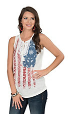Anne French Women's Americana Sleeveless Casual Knit Shirt