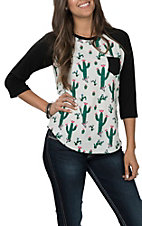 Cowgirl Hardware Women's White with Skull Cactus Print Black Raglan Sleeves Casual Knit Tee