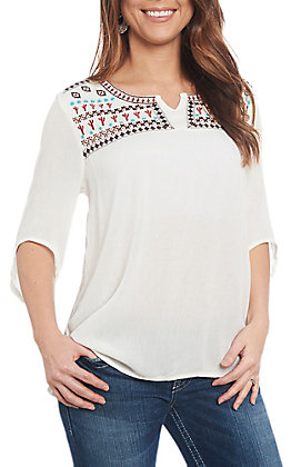 Cowgirl Hardware Women's Ivory Cactus West 3/4 Sleeve Fashion Top